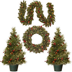 Berries and Pinecones 4-Piece Battery-Operated Pre-Lit Holiday Decorating Set