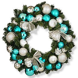 National Tree Company 30-Inch Silver and Blue Ornament Wreath