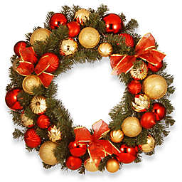 National Tree Company 30-Inch Gold and Red Ornament Wreath
