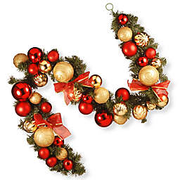 National Tree Company 6-Foot Gold and Red Ornament Garland