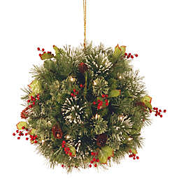 16-Inch Wintry Pine Pre-Lit Kissing Ball With Warm White LED Lights