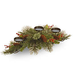 30-Inch Wintry Pine Centerpiece with 3 Candle Holders