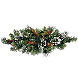 32-Inch Wintry Pine Pre-Lit Centerpiece with Battery Operated Warm White LED Lights