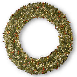 6-Foot Wintry Pine Christmas Wreath with Clear Lights