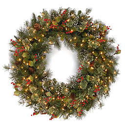 4-Foot Wintry Pine Christmas Wreath with Clear Lights