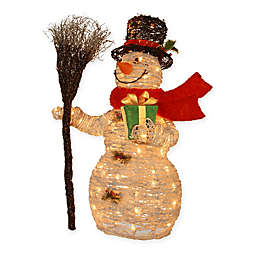 Pre-Lit Rattan Snowman Holiday Decoration with Clear Lights