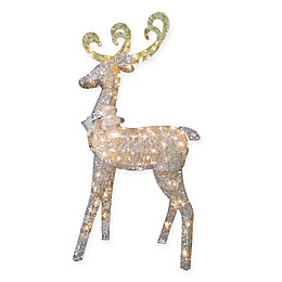 National Tree Company Pre-Lit Feeding Reindeer with Clear Lights