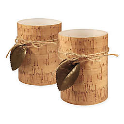 Cork with Leaf Battery-Operated LED Wax Candles with Timer (Set of 2)