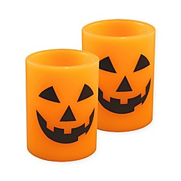 Jack-O-Lantern Battery-Operated LED Wax Candles with Timer (Set of 2)