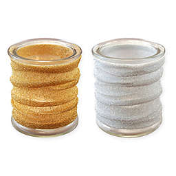 Glass Candle Holders with Metallic Wrap (Set of 4)