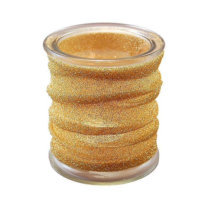 Alternate image 1 for Glass Candle Holders with Gold Metallic Wrap (Set of 4)