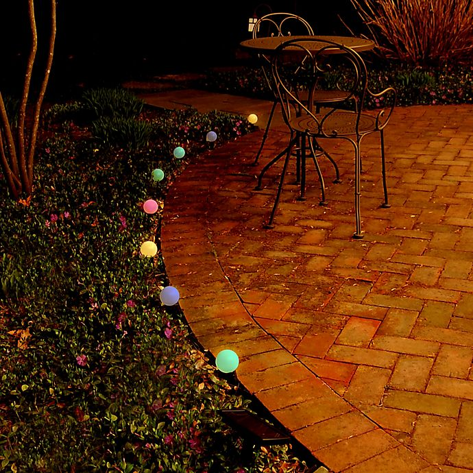 Alternate image 1 for Solar-Powered 8-Light Plastic Lantern String Lights