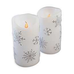 Snowflake Battery Operated LED Wax Candles with Timer (Set of 2)