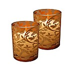 Battery Operated Wax Candles Filled in Gold Jacquard Glass with Timer (Set of 2)