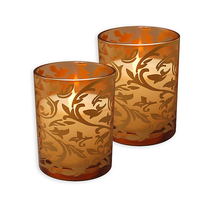 Alternate image 1 for Battery Operated Wax Candles Filled in Gold Jacquard Glass with Timer (Set of 2)