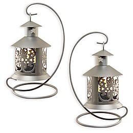 Metal Tabletop Lanterns in Silver (Set of 2)