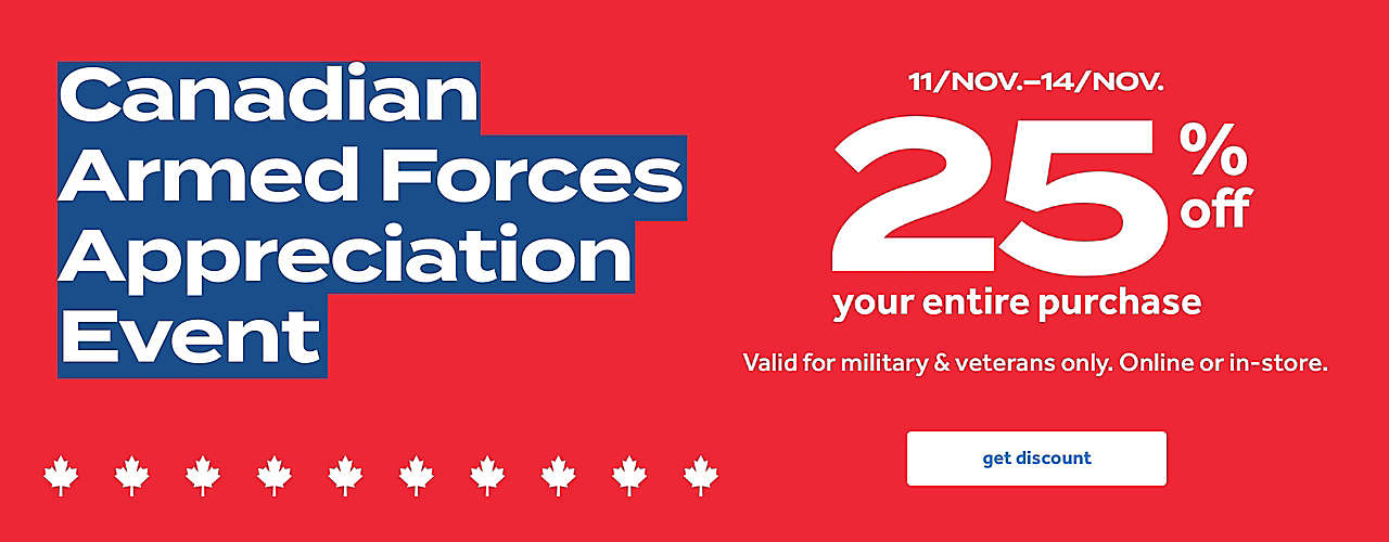 25% off your purchase valid only for military and veterans thru 14/Nov.