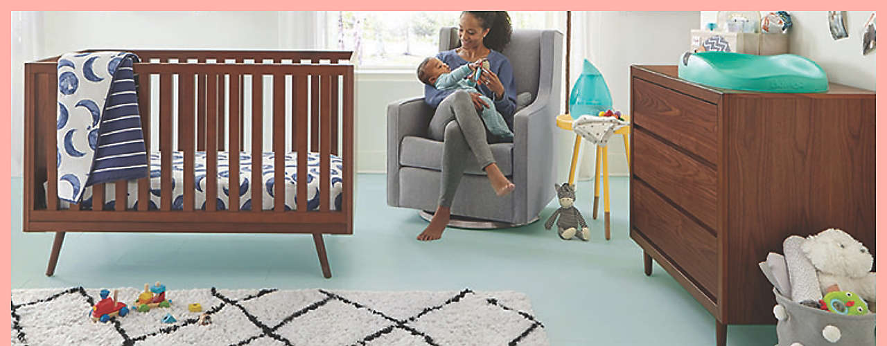 Set up a space for every giggle, nap, wipe, and burp.