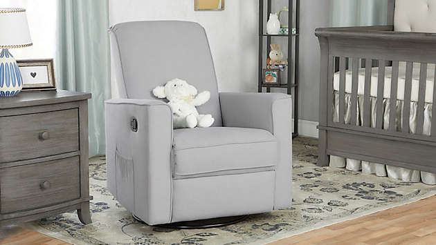 A comfy nursery chair that rocks, swivels, or glides will help you and baby relax at bedtime.