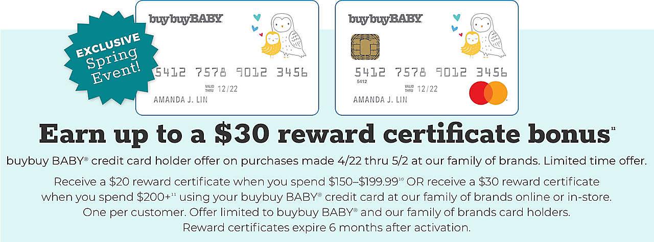 Receive a $20 reward certificate when you spend $150–$199.99