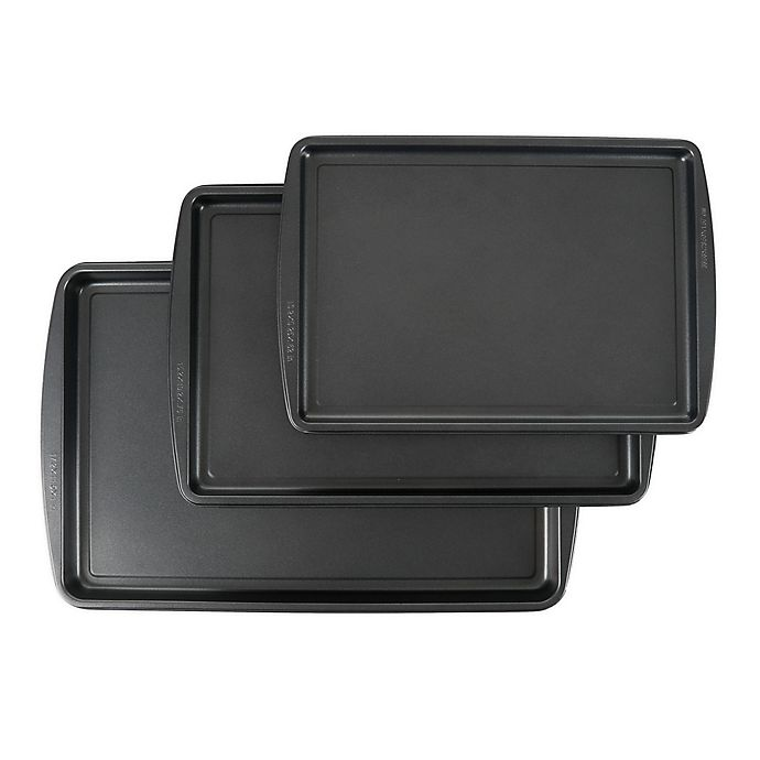 Alternate image 1 for Simply Essential™ 3-Piece Nonstick Baking Sheet Pans Set