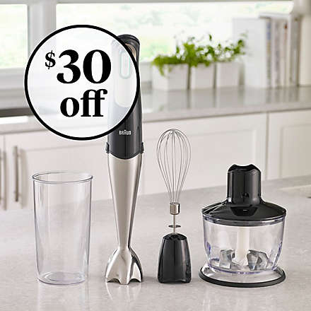 Braun® MultiQuick 7 Smart Speed Hand Blender with Beaker, Whisk, and Chopper. Shop Now