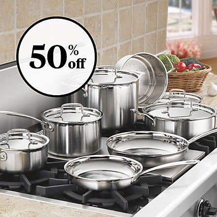 Save on the Cuisinart® 10- Piece Brushed Stainless Steel Cookware Set. Shop Now