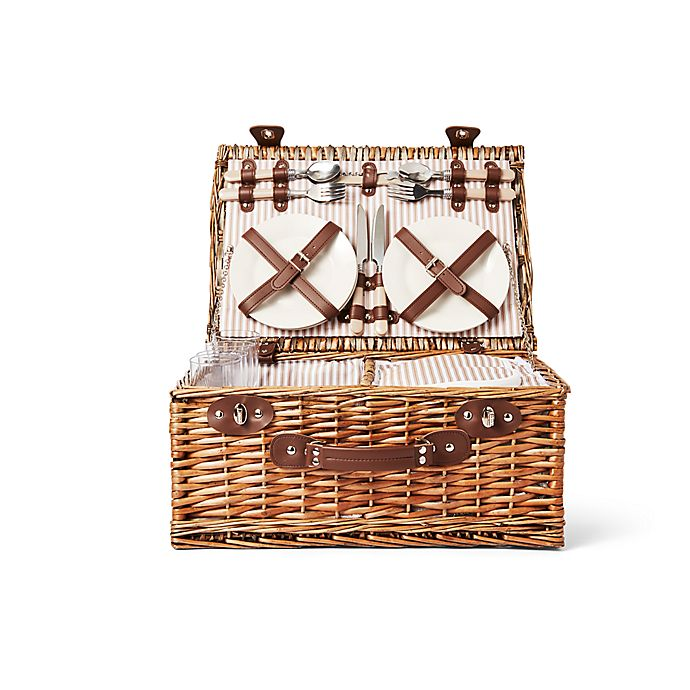 Alternate image 1 for Bee & Willow™ Picnic Basket with 4 Place Settings in Brown