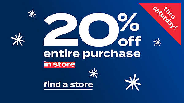 25% off entire purchase in store
