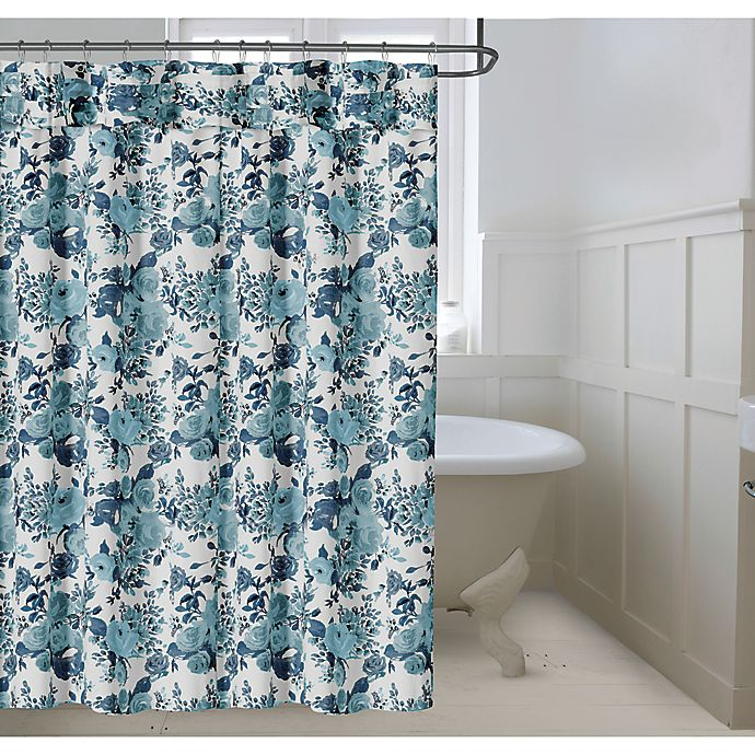 Alternate image 1 for Bee & Willow™ Home Vintage Rose 72-Inch x 98-Inch Shower Curtain in Blue