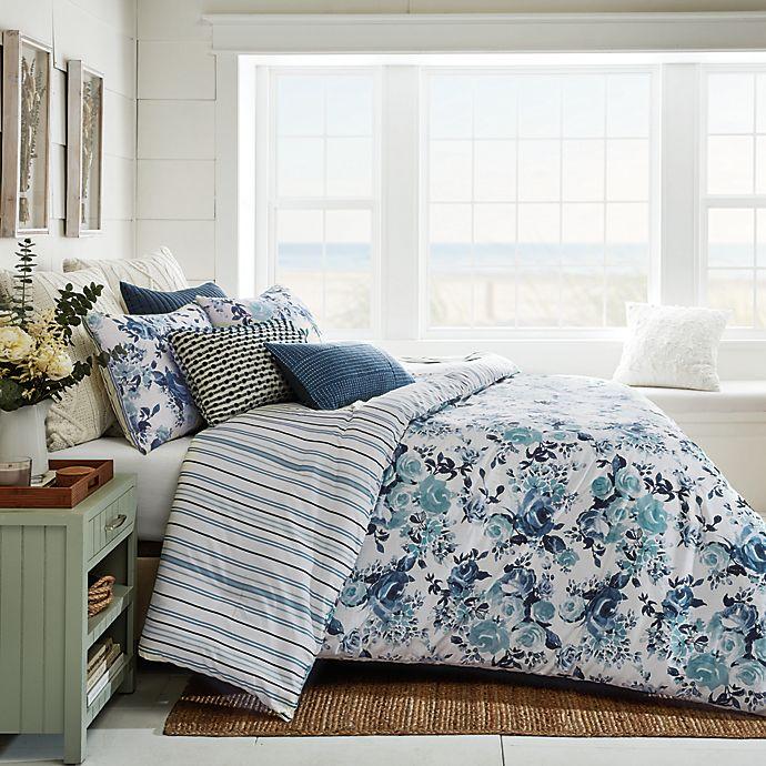 Alternate image 1 for Bee & Willow™ Vintage Rose Stripe 3-Piece Reversible Full/Queen Duvet Cover Set in Blue