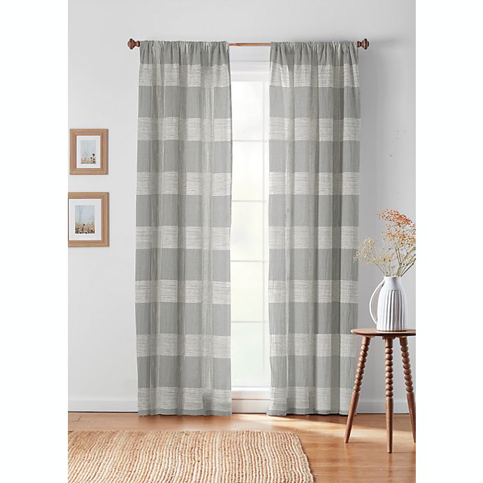 Alternate image 1 for Bee & Willow™ Textured Check Rod Pocket/Back Tab Window Curtain Panel (Single)