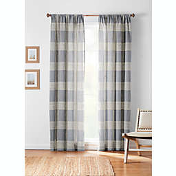 Bee & Willow™ Textured Check 63-Inch Rod Pocket/Back Tab Curtain Panel in Navy (Single)