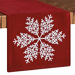 Bee & Willow™ Embroidered Snowflake Table Runner in Red/White