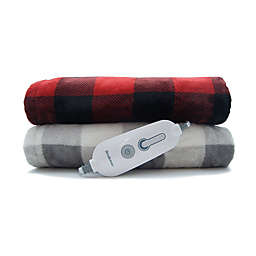 Brookstone® n-a-p® Heated Plush Throw Blanket in Ivory/Grey