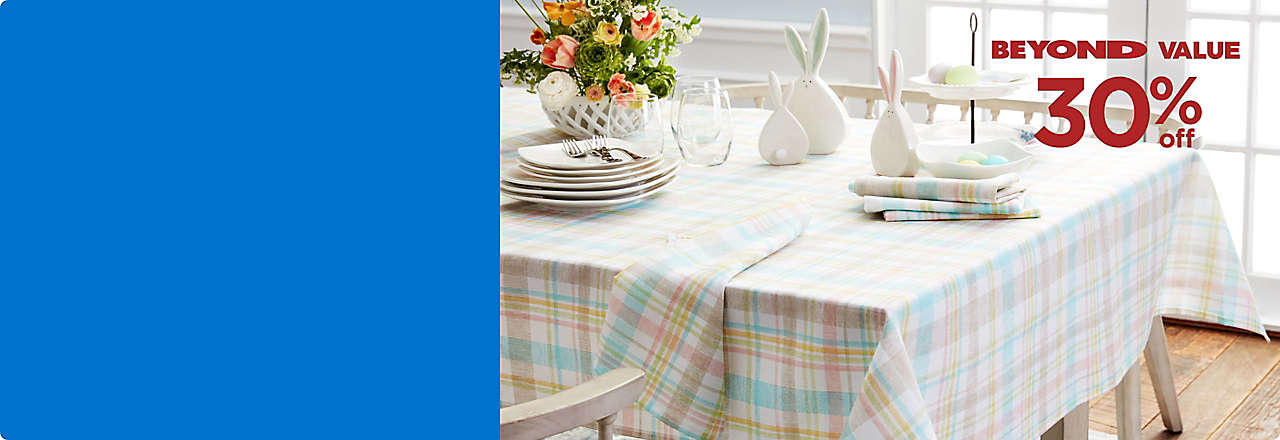 Brighten your table for spring with festive linens and more! Valid thru 4/12.