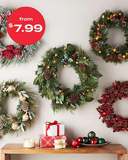 wreaths & garland starting at $7.99