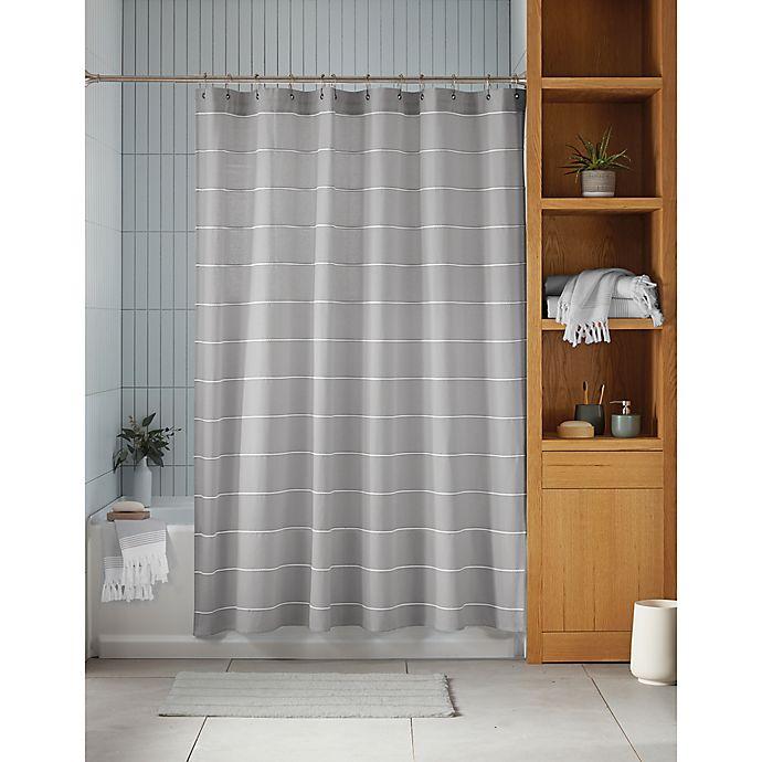 Alternate image 1 for Haven™ Pebble Stripe Organic Cotton Shower Curtain