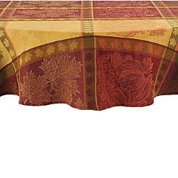 Pumpkin Cotton Jacquard 70-Inch Round Tablecloth
