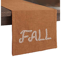 Fall Beaded Embroidered Table Runner in Pecan