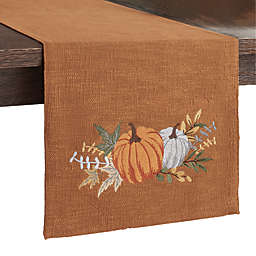 Pumpkin Embroidered Table Runner in Pecan
