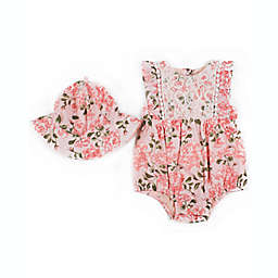 Nicole Miller 2-Piece Floral Sunsuit and Hat Set in Pink