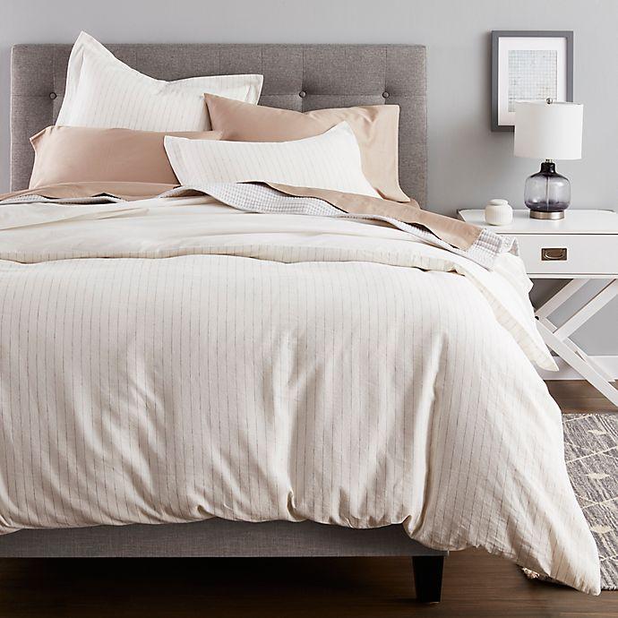 Alternate image 1 for Nestwell™ Pinstripe Cotton Linen 3-Piece Full/Queen Duvet Cover Set in White/Black