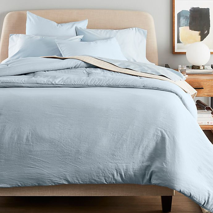 Alternate image 1 for Nestwell™ Washed Linen Cotton 3-Piece Full/Queen Duvet Cover Set in Light Blue