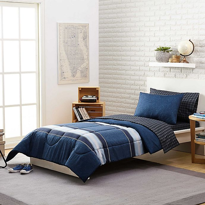 Alternate image 1 for Stripe 5-Piece Reversible Twin/TwinXL Comforter Set in Navy