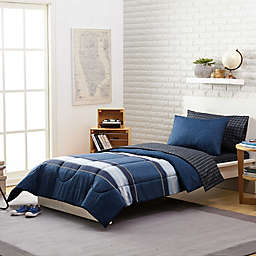 Stripe 5-Piece Reversible Twin/TwinXL Comforter Set in Navy
