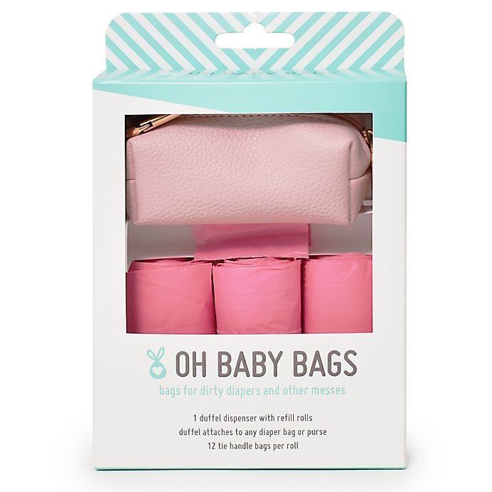 Alternate image 1 for Oh Baby Bags Faux Leather Wet Bag Dispenser Gift Box in Pink
