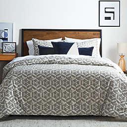 Studio 3B™ Geometric Jacquard 3-Piece King Duvet Cover Set in Natural