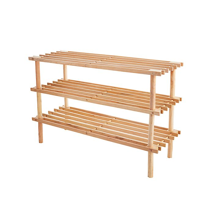 Alternate image 1 for Simply Essential™ 3-Tier Wood Shoe Rack in Natural