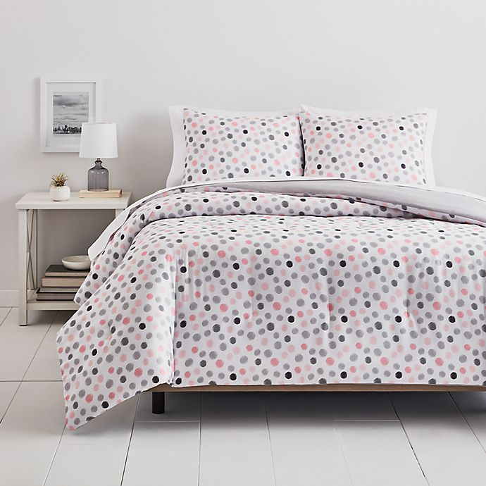 Alternate image 1 for Simply Essential™ Dots 3-Piece Full/Queen Comforter Set in Pink/Grey